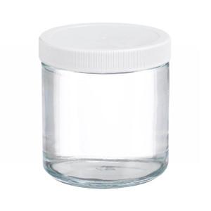 16oz Glass Jar, Straight Side Clear, PP/PTFE Liner, case/12