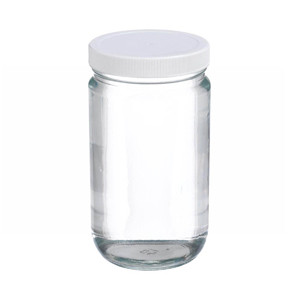 32oz Glass Jar, Straight Side Clear, PP/PTFE Liner, case/12