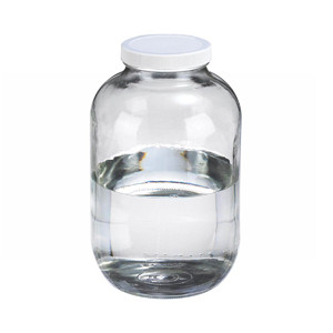 130oz Clear Glass Wide Mouth Packer Bottle, Vinyl Lined PP Caps, case/4