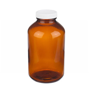 32oz Amber Wide Mouth Packer Bottle, PP/Poly Vinyl Liner, case/12