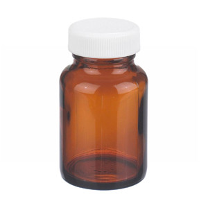 2oz Amber Wide Mouth Packer Bottle, PP/PTFE Liner, case/24