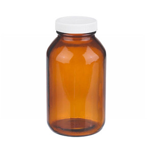 16oz Amber Wide Mouth Packer Bottle, PP/PTFE Liner, case/12