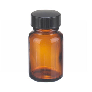 1oz Bottle, Wide Mouth, Packer, Amber Type III, Polyethylene Cone Lined, case/24