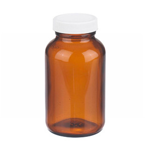 8oz Bottle, Type III, Amber, PP/Poly Vinyl Liner, Bulk, case/84