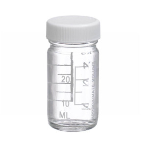 1oz Bottle, Wide Mouth, Volumetric, Type III Clear, PP/Poly Vinyl Liner, case/48