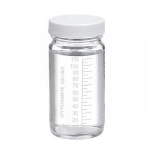 4oz Graduated Wide Mouth Glass Bottle, PTFE Lined PP Caps, case/24