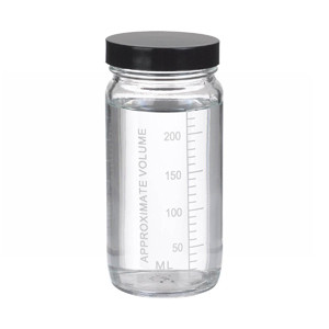 8oz Graduated Wide Mouth Glass Bottle, Rubber Lined Phenolic Caps, case/24