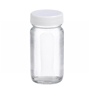 2oz Clear Wide Mouth Straight Side Glass Bottle, Vinyl Lined PP Caps, case/48