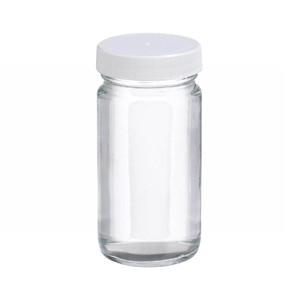 4oz Clear Wide Mouth Straight Side Glass Bottle, PTFE Liner, case/24