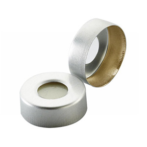 20mm Headspace Seal Hole Cap, Pressure Release, PTFE/Silicone Septa, case/100