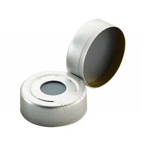20mm Headspace Seal Hole Cap, Pressure Release, PTFE/Butyl Septa, case/100