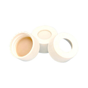 24-400 Cap, PP White, .005, PTFE /.120 Silicone Liner, case/200