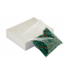 Clear ABC Vials, 12X32, Green, PTFE /Silicone Caps, case/100