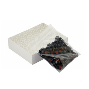 Clear ABC Vials, 12X32, Black Hole Caps, PTFE /Silicone, Slit, case/100