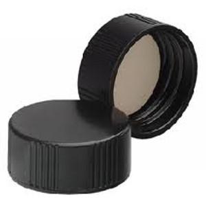 Wheaton 24-400 Black Phenolic Caps, 14B Rubber Liner, case/144