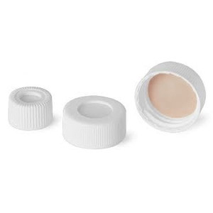 13-425 Open Top PP Caps, White, PTFE /Silicone, Liner .060, case/1000