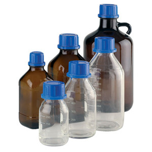 Wheaton W832006 1000mL Bottle, 45mm, Amber Glass, Polyethylene Liner