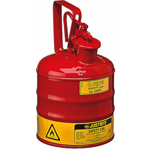 Justrite 10301 Type I Steel Safety Can with Trigger Handle, 1 gal, Red