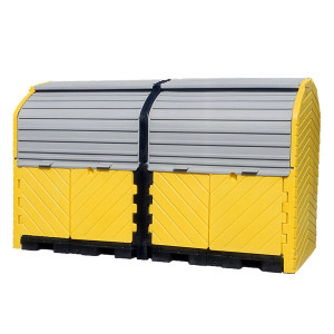 UltraTech 9650 Hard Top 8-Drum Storage Building, Poly, Choose Drain