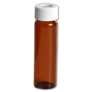 Certified Clean 40mL Amber Glass Vials, Open Top, .125 Septa, case/72