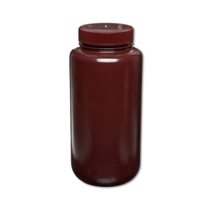 Certified Clean 32oz Amber Sample Bottle, HDPE, Wide Mouth, case/12