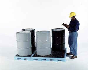 6-Drum Containment Spill Pallet, 66 gal sump, Fluorinated