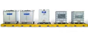 UltraTech 1128 Modular IBC Spill Pallet: 5-Tank, Indoor Model
