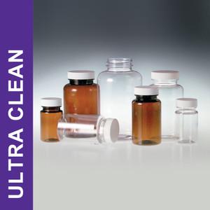 Ultra Clean 4oz (120mL) Clear PET Jars, 38-400 Foam Caps, case/48