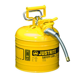 """Justrite Safety Can with 5/8"""" hose, 2 gal, Type 2, Choose Color"""