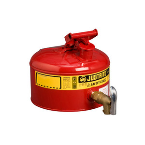Justrite Safety Can with 08902 Faucet, 2.5 gal, Type 1, Choose Color