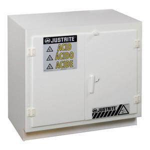 Justrite 24010 Polyethylene Undercounter Safety Cabinet, Acid, White