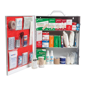 Medium 3-Shelf Industrial First Aid Kit Cabinet with Liner