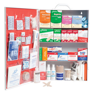 Large 4-Shelf Industrial First Aid Kit Cabinet with Liner
