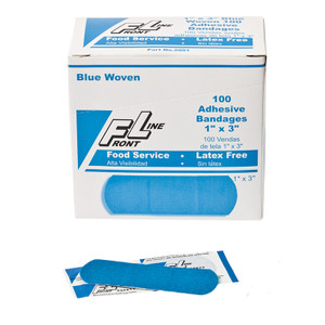 "Blue Woven Bandages, 1 x 3"", latex-free, 12 boxes of 100"