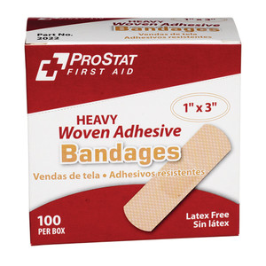 "Heavy Duty Woven Adhesive Bandages, 1"" x 3"", 12 boxes of 100"