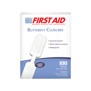 "Bandages, Butterfly Closure, 3/8"" x 1-3/4"", 12 boxes of 100"