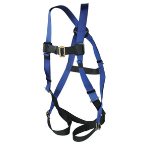 Fall Safety Harness, Adjustable Chest Strap, Buckles on Leg Straps, Choose Size