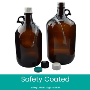 Safety Coated Amber Glass Jug, 4000mL, 38-439 Black, PTFE Cap, case/6