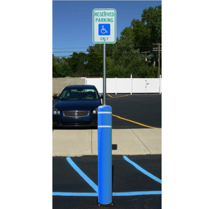 7 x 52 Flex Bollard w/ 8' Sign Post, Mounting Options