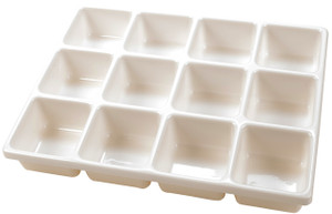 "Tray, Lab Items, PVC, 12 Cavity 3.5 x 3.5"", Each"