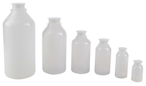 Lockable (Tamper Evident) Security Bottles, Graduated LDPE, 250mL, pack/10