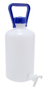 Carboy with Spigot, Narrow Mouth, Heavy Walled HDPE w/ O-ring, 5L, Each