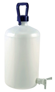 Carboy with Spigot, Narrow Mouth, Heavy Walled HDPE w/ O-ring, 10L, Each