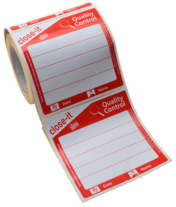 Close-It Label, Super Sticky Hole Patch, Red Print, 150mm, Roll/250