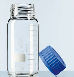 Chemglass Glass Media Bottle, GL80 Thread, Wide Mouth, Graduated, 500mL, case/10