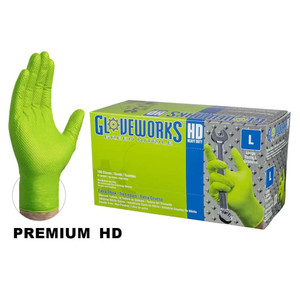 Green Nitrile Gloves, Heavy Duty, Textured, Powder Free, case/1000