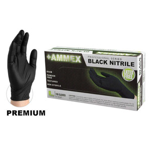 Black Nitrile Exam Gloves, Premium FDA, Powder Free, case/1000