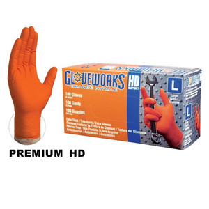 Orange Nitrile Gloves, Heavy Duty, Textured, Powder Free, case/1000