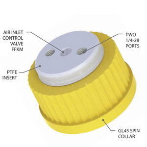 2-Port Cap, GL45 with Air inlet valve for Solvent Delivery