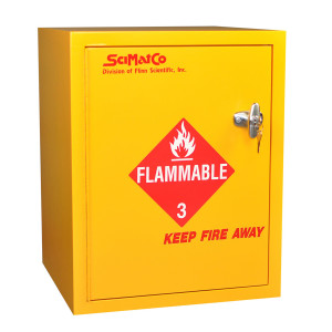 "Non-Metallic Wood Flammable Cabinet, 21"" 6 gal Bench Top, Self-Closing"